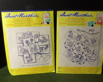 Aunt Martha's Hot Iron Transfers 3813 Flower of the Month & 3698 Flowers for Paint or Embroidery