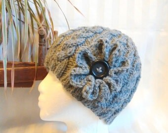 Ready to Ship. Gray Hat. Knit Cable Beanie.  Knit Hat. Optional Crochet Flower. Light Gray Heather. Grey. Beanies for Women. Beanies for Men