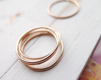 Rose Gold Thin Ring Size 6 Stacking Pink Goldfilled Wispy for Hammering or Embellishing Size Six (RHGFR456)