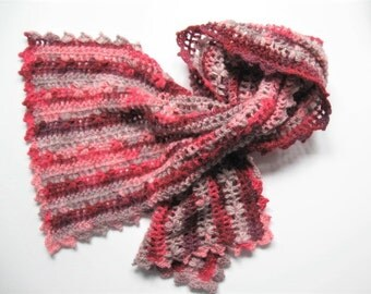 Crochet flower scarf with picot edging, shawl, under-coat scarf, flower pattern scarf, cherry blossoms, crochet scarf, pink and red ombre