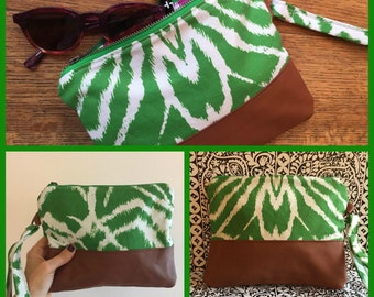 Handmade Green Zebra Print Clutch,  Linen and Saddle Leather, Fun Disco Bag, Evening Purse, Vacation Carryall