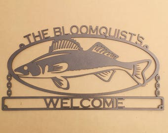 Walleye Sign with Personalized Text (A34)