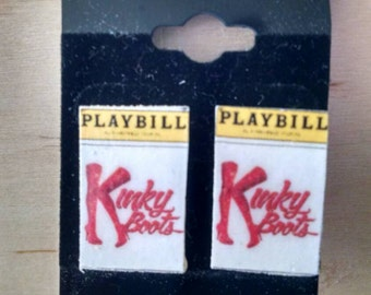 Kinky Boots Stud Playbill Earrings - Handmade Theater Jewelry - Handmade Musical Earrings - Musical Theater Jewelry - Broadway Stud Earring