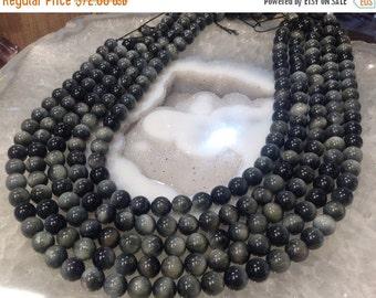 50% Mega Sale 8mm Grey Hawk's Eye Round Gemstone Beads