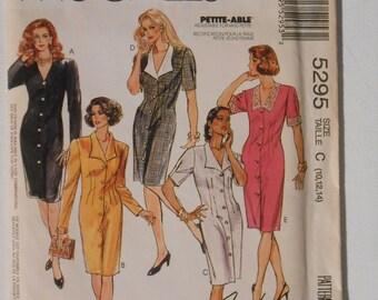 Vintage 90s Misses Front Button Shirtwaist Dress Pattern McCalls 5295 Size 10 12 14 Bust 32 1/2 34 36 UNCUT