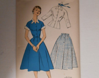 Vintage 50s Blouse and Skirt Pattern New York 1628 Size 17 Bust 35 UNCUT
