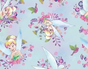 Tinkerbell Fairy Watercolor Blue Floral Disney Cotton Woven by the yard