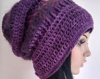 Slouch Beanie, slouchy hat for women, teens, purple accessories, winter hat, hipster hat, handmade hat, hand crochet beanie, boho chic