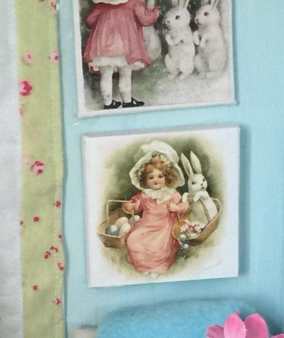 "Easter Bunny and Girl in Pink - 2"" x 2"" canvas"