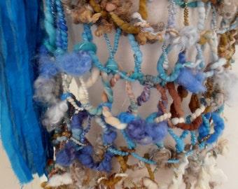 sale Scarf  bulky textured art yarn Hand Spun Hand Knit Scarf teal blue brown cream merino mix