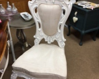 Creamy White VERY Ornate Chair