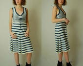 Striped Sailor Dress Vintage Dark Blue + Ivory Striped Nautical Sleeveless Sweater Rib Knit Summer Dress (s)