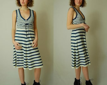 Striped Sailor Dress Vintage Dark Blue + Ivory Striped Nautical Sleeveless Sweater Rib Knit Summer Dress (s)