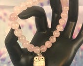 New Rose Quartz Stretch Bracelet With Pink Owl Charm, Gift