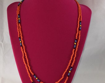 Native American Orange Turquoise  Beaded Necklace New Handcrafted