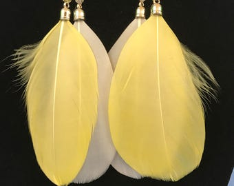 Yellow And White Beaded Feather Dangle Pierced Earrings