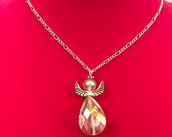Guardian Angel Sterling Silver Clear Beaded Necklace