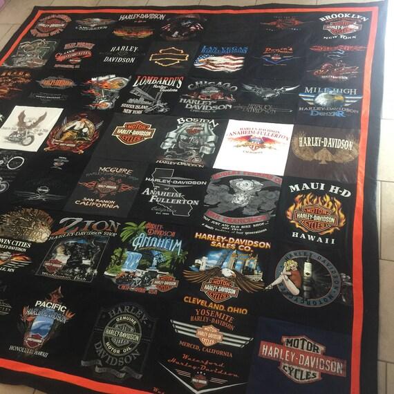 Harley Davidson Tshirt Memory Blanket
