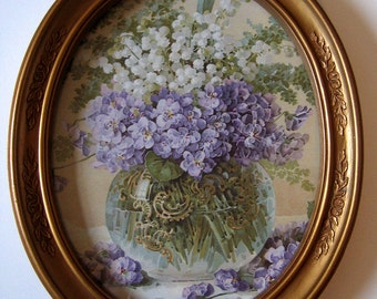 Paul de Longpre, Art Print, Violets, Lily of the Valley, Vintage Homco Frame, Shabby Chic Decor