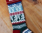 Personalized Christmas Stocking, penguins, reserved for Julie