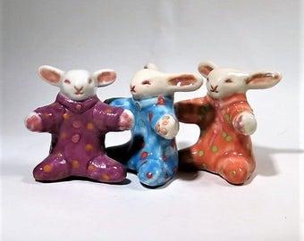 Baby Bunny Rabbit Figurine Polka Dot Ceramic Miniature Folk Art Sculpture