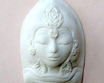 Ceramic White Porcelain Face Tibetan Tara Quan Yin Matte Wall Hanging Object Sculpture Handmade Pottery Buddhist Spiritual Art Object