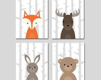 Woodland Nursery Decor Set of 4 Forest Animal Nursery Art Deer Moose Wolf Raccoon Bunny Rabbit Fox Bear Boy Nursery Art  CHOOSE YOUR ANIMALS