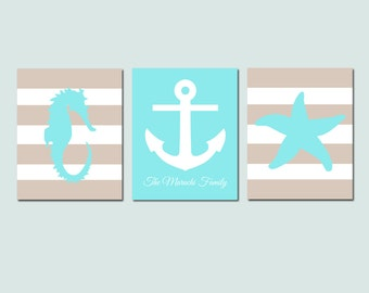 Beach Wall Art Nautical Art Nautical Decor Set of 3 Prints - Starfish Seahorse Anchor - Family Name - Home Decor - CHOOSE YOUR COLORS