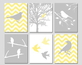 Bird Wall Art Bird Decor Bird Artwork Chevron Bird Wall Art Yellow and Grey Bird Art Set of 6 Bird Prints Nature Art - CHOOSE YOUR COLORS