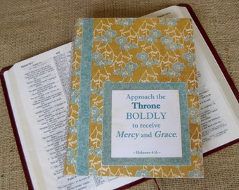 Legacy Prayer Journal, Bound Book, Mustard Yellow with Turquoise Flowers with Turquoise Damask Accents