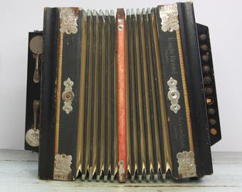 Vintage Eagle Brand ACCORDION- Made in Germany- Bell Metal Reeds- Musical Instrument- Red and Blue- Used Condition 1930's- R3