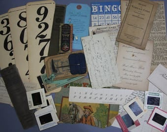 Paper Ephemera Lot- Dairy Coupon Book- Slides- Math Flash Cards- Report Card- Book Pages- Mixed Media Supply