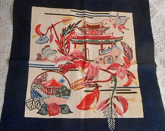 "Vibrant PAGODA TEMPLE BLOCK Painted Chinese Setting Butterfly Leaves Red Pink Flowers, Silk Screen Art Quilt Pillow Purse Wall Decor 18"" sq"