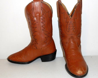 Kids Cowboy Boots Vintage Distressed Toddlers Size 10 Brown Country Western Shoes
