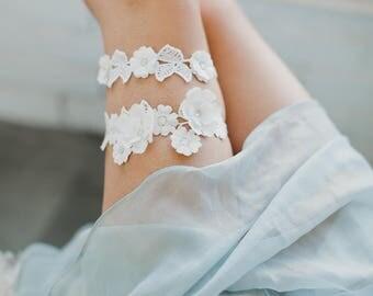 Ivory Lace Garter, Alencon Lace Garter, Silk Flower Garter, Swarovski Crystal Embellished Bridal Garter, Opal Crystals, Garter Toss, 1733