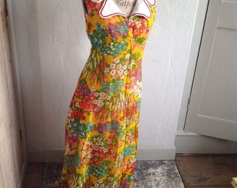1970s floral maxi dress size 12