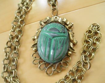 Vintage Egyptian Revival Necklace with Huge Scarab Pendant