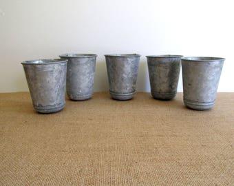 Vintage Zinc Pots Garden Vase Weathered Rustic Herb Garden Set of Five Starter Pots