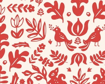Folk Christmas Holiday Fabric - Holiday Folk Art By Shelbyallison - Red Christmas Holiday Cotton Fabric By The Yard With Spoonflower