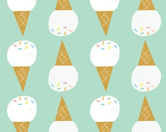 Ice Cream Cone Fabric - Vanilla, Please Mint By Shindigdesignstudio - Ice Cream on Mint Nursery Cotton Fabric By The Yard With Spoonflower