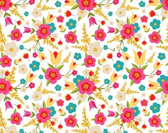 Floral Fabric - Country Flowers By Shelbyallison - Floral Cotton Fabric By The Yard With Spoonflower