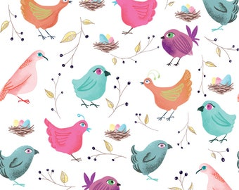 Watercolor Birds Fabric - Birds Nest By Samossie - Spring Nest Eggs Teal Pink Purple Birds Cotton Fabric By The Yard With Spoonflower