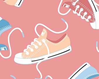Sneakers Fabric - Sneakers Pink By Overbye - Sneakers Kids Colorful Shoes Pink Pastel Cotton Fabric By The Yard With Spoonflower