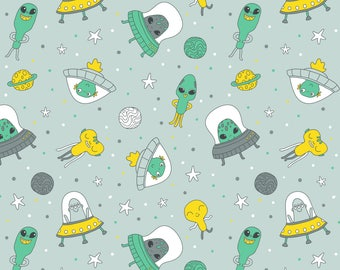 Alien UFOs Fabric - Funny Aliens By Kostolom3000 - Aliens Flying Saucers Green Men Hipster Doodle Cotton Fabric By The Yard With Spoonflower