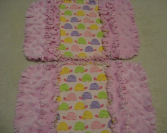 Turtles burp cloth Baby Shower Gift Spit Rag Pink Baby Girl Burp Cloths with Minky backing