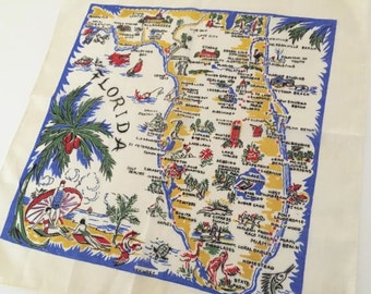 Vintage Florida handkerchief hankie men's style with map, flamingos, palm trees, rolled edges 1940s 1950s Florida souvenir