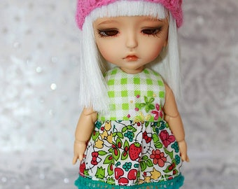 SALE - LATI Yellow PukiFee - Hello Kitty Series - Strawberry - DRESS - Lime Green Gingham - Teal - Pink
