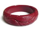 Deep Carved Lucite Burgundy Red Bangle Bracelet Vintage