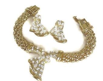 Vintage Mesh & Clear Rhinestone Bracelet and Earrings Set