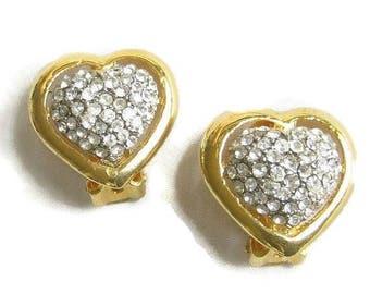 Vintage Heart Earrings Pave Rhinestone Wedding Bridal